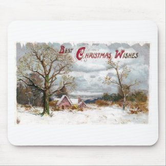 Bare Trees and Stormy Skies Vintage Christmas Mouse Pad