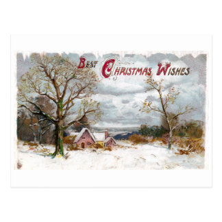 Bare Trees and Stormy Skies Vintage Christmas Postcard