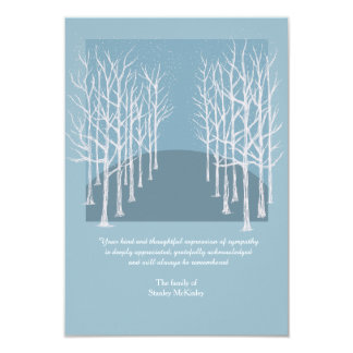 Bare Trees Funeral Thank You Card