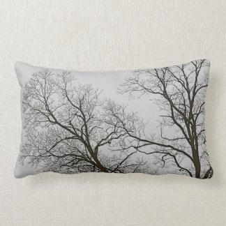 Bare Trees & Grey Sky Nature Art Lumbar Pillow