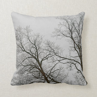 Bare Trees & Grey Sky Nature Art Throw Pillow