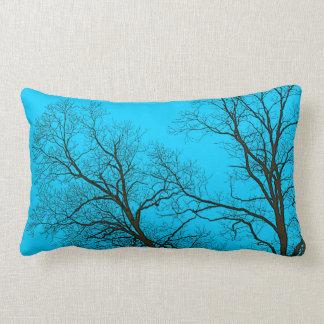 Bare Trees & Teal Blue Sky Nature Art Lumbar Pillow