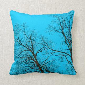 Bare Trees & Teal Blue Sky Nature Art Throw Pillow