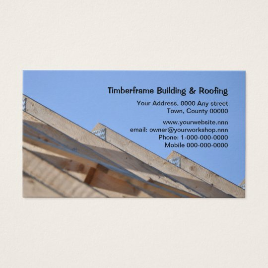 Bare wooden roof trusses business card