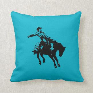 Bareback Bronc-Bull Rider Throw Pillow