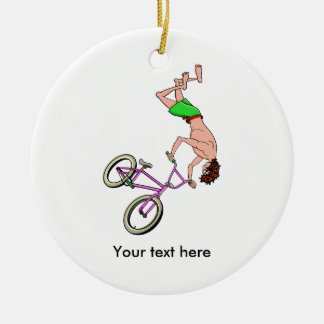 Barefoot BMX Ride Air Time Ceramic Ornament