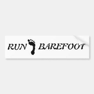"""Barefoot Brand """"run barefoot"""" bumper sticker"""