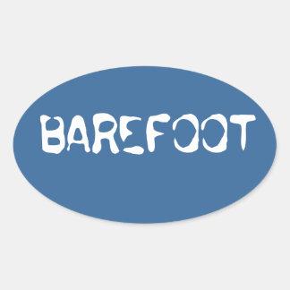 "Barefoot Brand water background ""barefoot"" sicker Oval Sticker"
