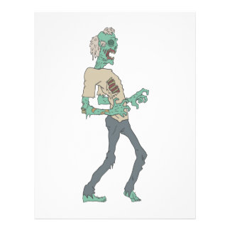 Barefoot Creepy Zombie With Rotting Flesh Outlined Letterhead