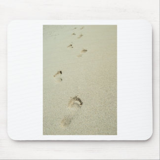 Barefoot footprints on sand mouse pad