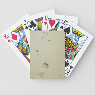 Barefoot footprints on sand poker cards