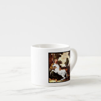 Barefoot Girl and White Unicorn Espresso Cup