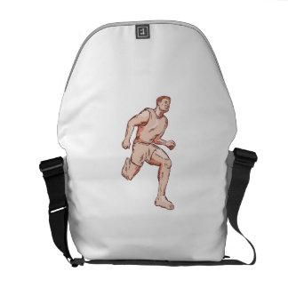 Barefoot Runner Running Marathon Etching Courier Bags