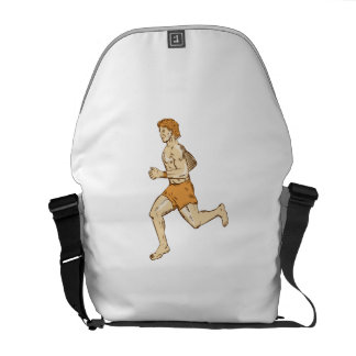 Barefoot Runner Running Side Etching Courier Bags