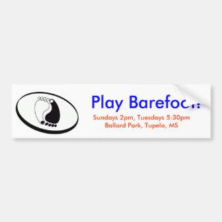 barefootdecal, Play Barefoot!, Sundays 2pm, Tue... Bumper Sticker