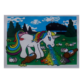 Barfing Unicorn Poster