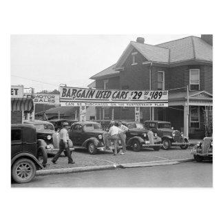 Bargain Used Cars, 1938 Postcard