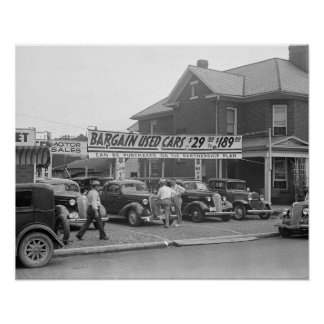 Bargain Used Cars, 1938. Vintage Photo Poster