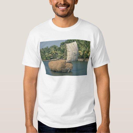 Barge carrying hay, Kerala, India T-shirt