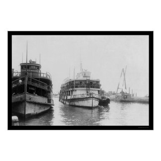 Barge Carrying Immigrants at Ellis Island, NY 1920 Posters