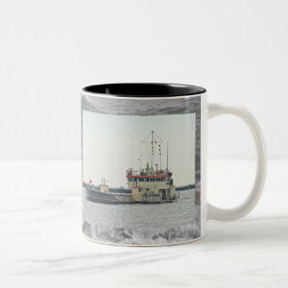Barge in Barnegat Inlet New Jersey Series Two-Tone Coffee Mug