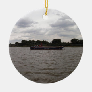 Barge On The Thames Ceramic Ornament