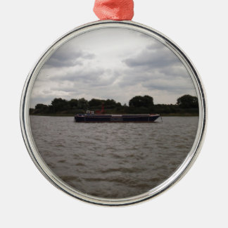 Barge On The Thames Metal Ornament