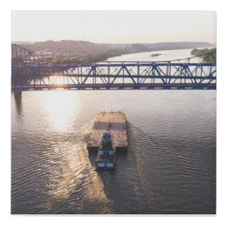 Barge under bridge faux canvas print