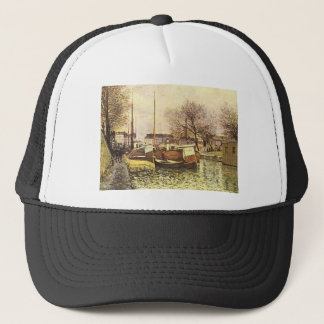 Barges on the Canal Saint Martin in Paris Alfred Trucker Hat