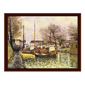 Barges On The Canal Saint-Martin In Paris Postcard