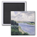 Barges on the Seine, c.1869 2 Inch Square Magnet