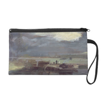 Barges on the Stour with Dedham Church in the Dist Wristlet Clutch