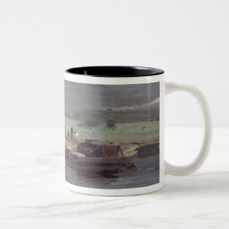 Barges on the Stour with Dedham Church in the Dist Two-Tone Coffee Mug