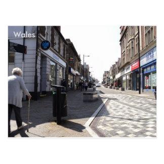 Bargoed main street, Bargoed, South Wales Postcard