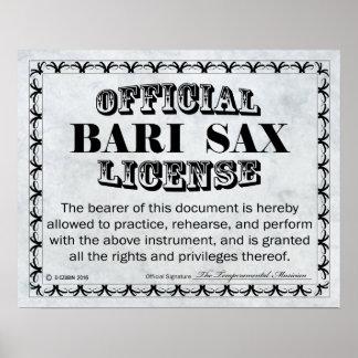 Bari Sax License Poster