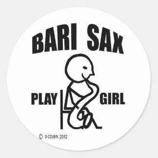 Bari Sax Play Girl Stickers