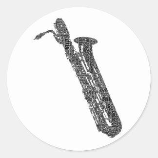 Bari Sax Shaped Word Art Black Text Sticker