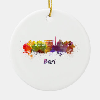 Bari skyline in watercolor ceramic ornament