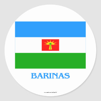 Barinas Flag with Name Classic Round Sticker