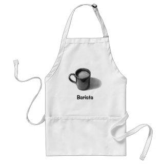 BARISTA APRON: PENCIL DRAWING, COFFEE MUG ADULT APRON