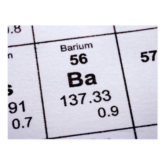 Barium molecular formula postcard