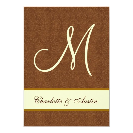 Bark Brown and Cream Damask Square Wedding A454 Card