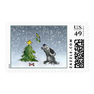 Bark! Cartoon Christmas Singing Dog Postage