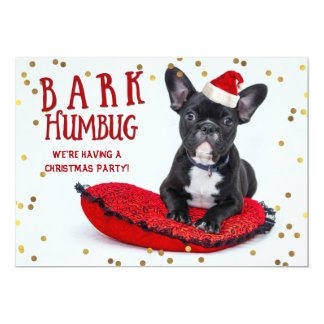 BARK Humbug Cute Bulldog Christmas Party Card