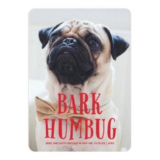 Bark Humbug Cute Puppy Dog | Holiday Photo 5x7 Paper Invitation Card