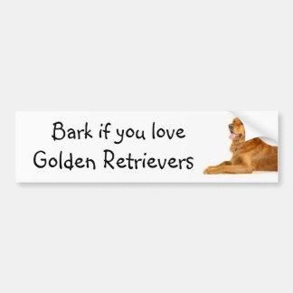 Bark if you love Golden Retrievers Bumper Stickers