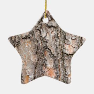 Bark of Scotch pine tree as background Ceramic Ornament