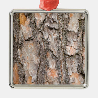 Bark of Scotch pine tree as background Metal Ornament
