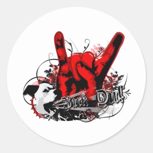 """""""Bark On"""": Punk Rock Grunge Dog Round Stickers"""