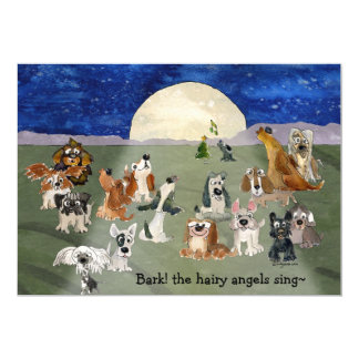Bark the Hairy Angels Sing Dogs Xmas Card